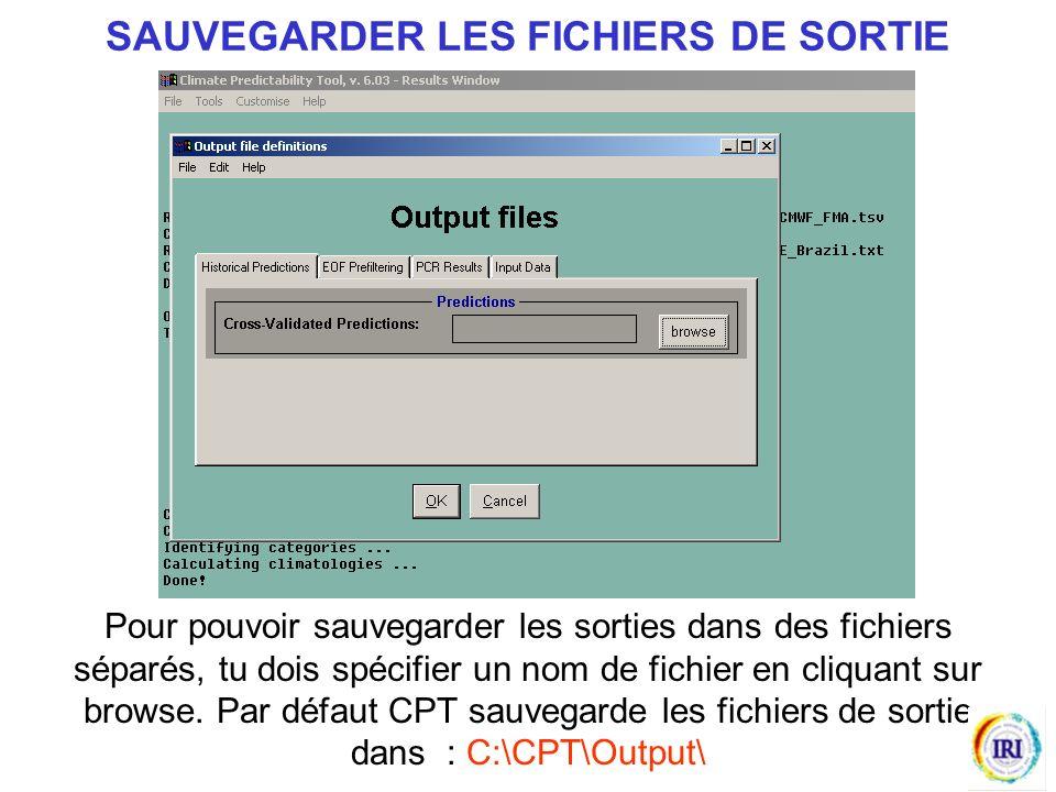 Pour pouvoir sauvegarder les sorties dans des fichiers séparés, tu dois spécifier un nom de fichier en cliquant sur browse.