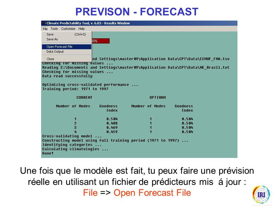 Une fois que le modèle est fait, tu peux faire une prévision réelle en utilisant un fichier de prédicteurs mis á jour : File => Open Forecast File PREVISON - FORECAST