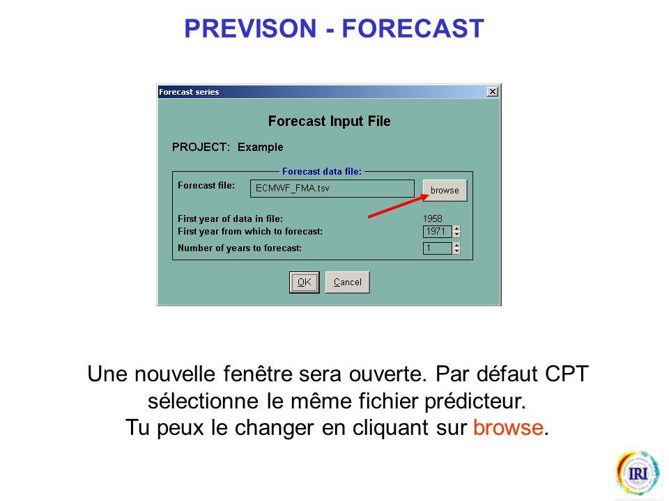 Une nouvelle fenêtre sera ouverte.Par défaut CPT sélectionne le même fichier prédicteur.