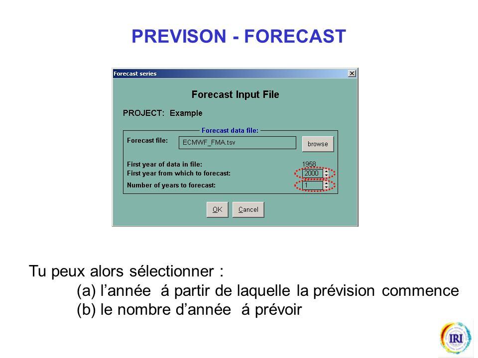 Tu peux alors sélectionner : (a) lannée á partir de laquelle la prévision commence (b) le nombre dannée á prévoir PREVISON - FORECAST