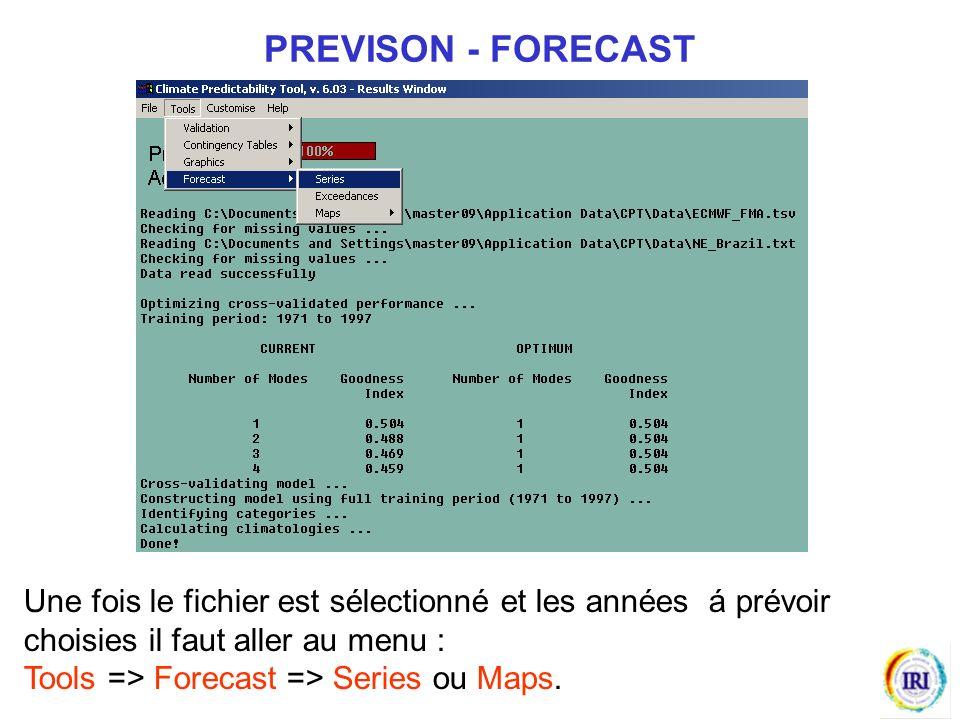Une fois le fichier est sélectionné et les années á prévoir choisies il faut aller au menu : Tools => Forecast => Series ou Maps.