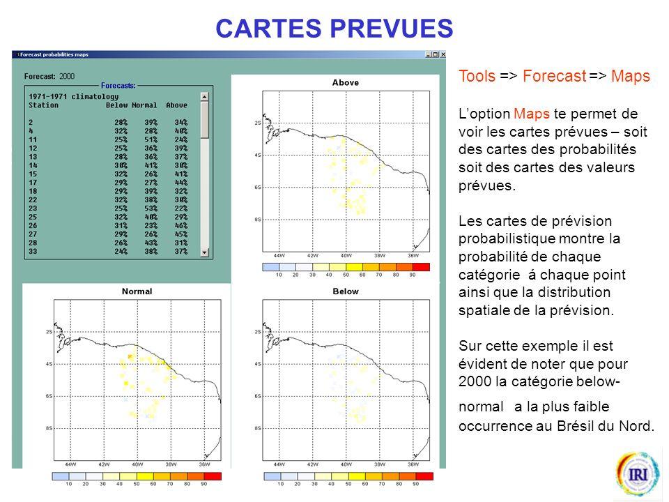Tools => Forecast => Maps Loption Maps te permet de voir les cartes prévues – soit des cartes des probabilités soit des cartes des valeurs prévues.