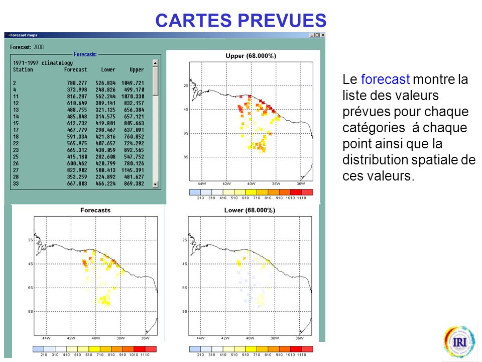 Le forecast montre la liste des valeurs prévues pour chaque catégories á chaque point ainsi que la distribution spatiale de ces valeurs.
