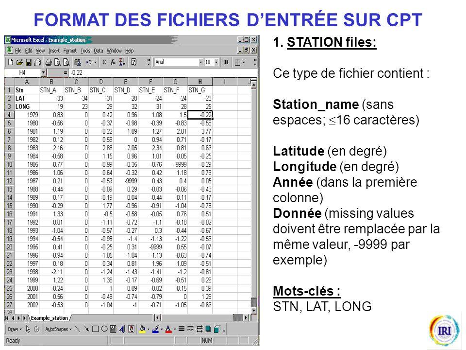 1. STATION files: Ce type de fichier contient : Station_name (sans espaces; 16 caractères) Latitude (en degré) Longitude (en degré) Année (dans la pre