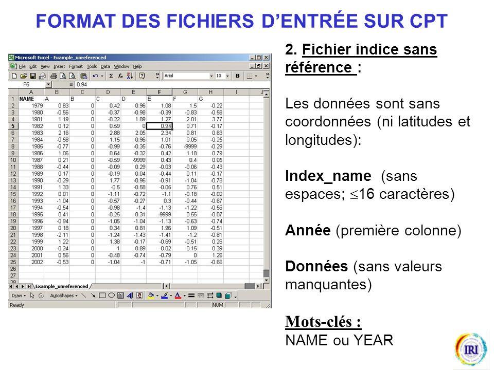 2. Fichier indice sans référence : Les données sont sans coordonnées (ni latitudes et longitudes): Index_name (sans espaces; 16 caractères) Année (pre