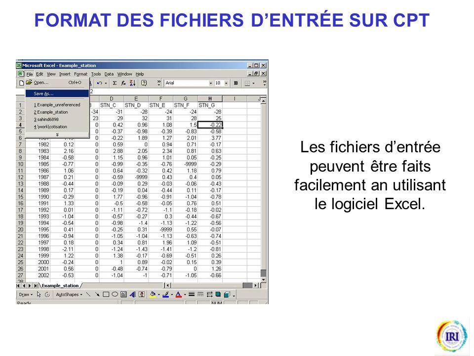 Les fichiers dentrée peuvent être faits facilement an utilisant le logiciel Excel.