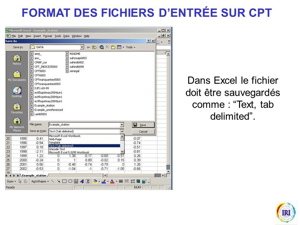Dans Excel le fichier doit être sauvegardés comme : Text, tab delimited.