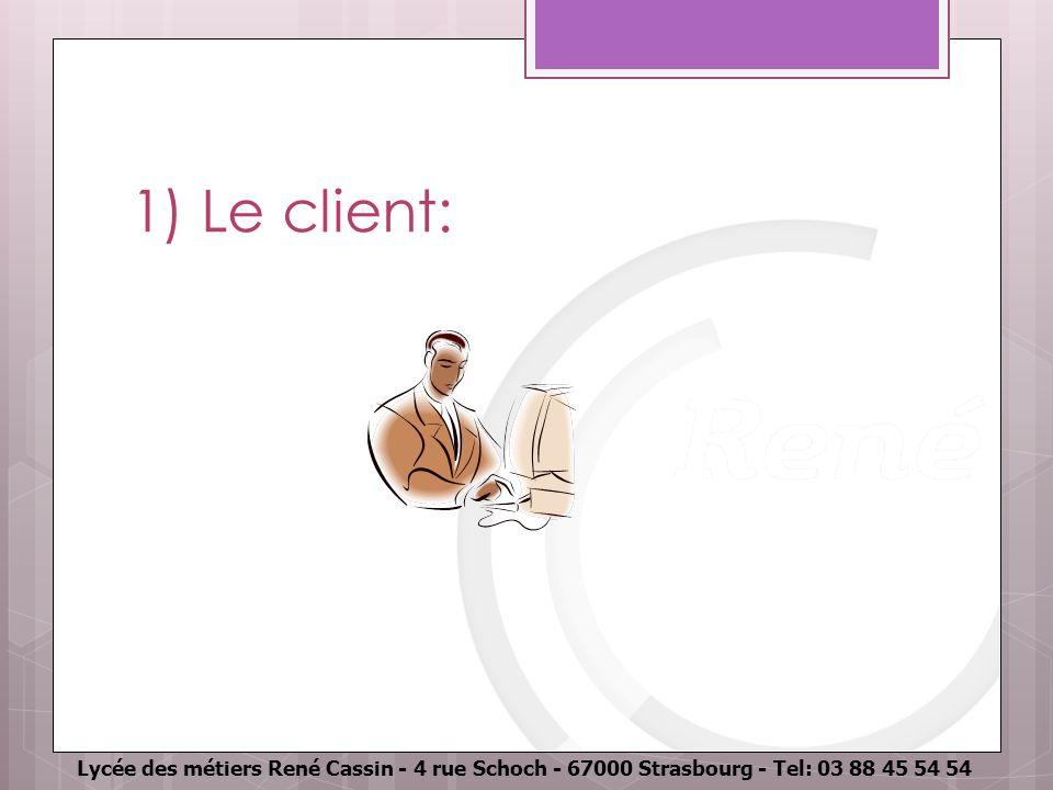 Lycée des métiers René Cassin - 4 rue Schoch - 67000 Strasbourg - Tel: 03 88 45 54 54 1) Le client: