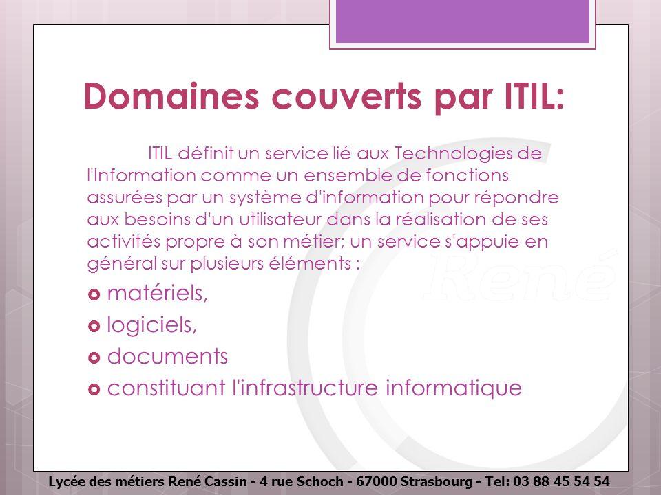 Lycée des métiers René Cassin - 4 rue Schoch - 67000 Strasbourg - Tel: 03 88 45 54 54 Domaines couverts par ITIL: ITIL définit un service lié aux Tech