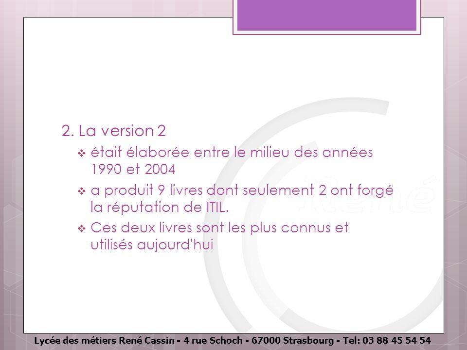 Lycée des métiers René Cassin - 4 rue Schoch - 67000 Strasbourg - Tel: 03 88 45 54 54 2. La version 2 était élaborée entre le milieu des années 1990 e
