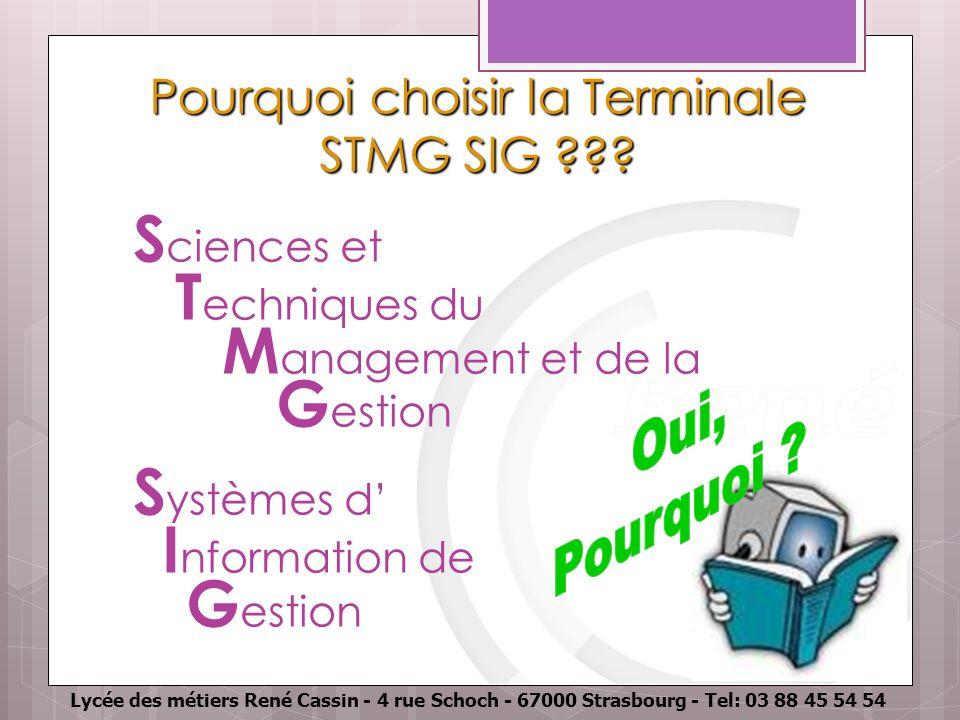 Lycée des métiers René Cassin - 4 rue Schoch - 67000 Strasbourg - Tel: 03 88 45 54 54 Pourquoi choisir la Terminale STMG SIG ??? S ciences et T echniq
