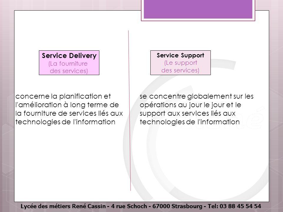 Lycée des métiers René Cassin - 4 rue Schoch - 67000 Strasbourg - Tel: 03 88 45 54 54 Service Delivery (La fourniture des services) concerne la planification et l amélioration à long terme de la fourniture de services liés aux technologies de l information se concentre globalement sur les opérations au jour le jour et le support aux services liés aux technologies de l information Service Support (Le support des services)