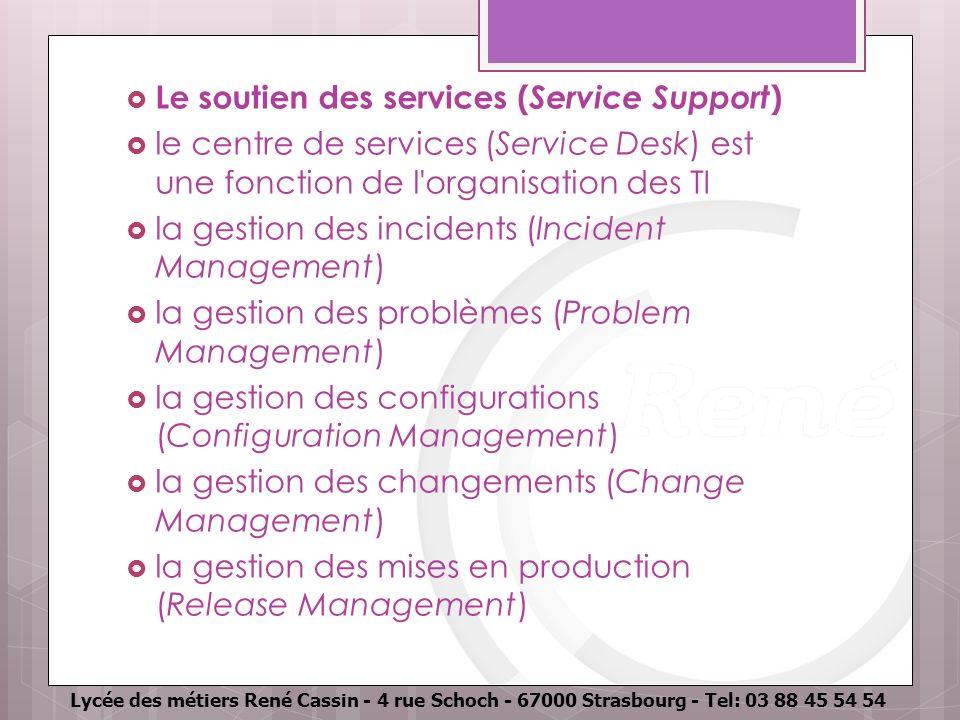 Lycée des métiers René Cassin - 4 rue Schoch - 67000 Strasbourg - Tel: 03 88 45 54 54 Le soutien des services ( Service Support ) le centre de service