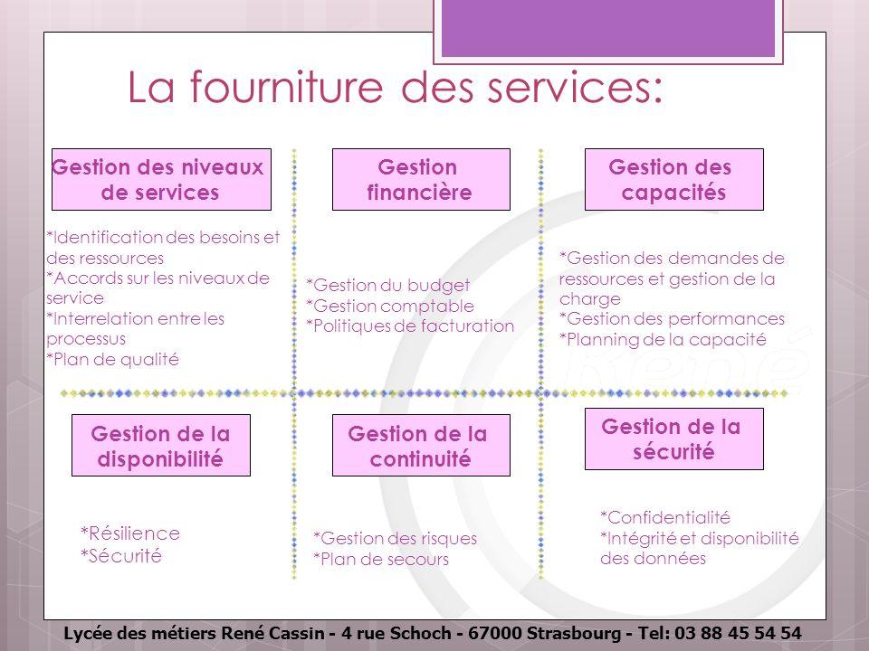 Lycée des métiers René Cassin - 4 rue Schoch - 67000 Strasbourg - Tel: 03 88 45 54 54 La fourniture des services: Gestion des niveaux de services Gest
