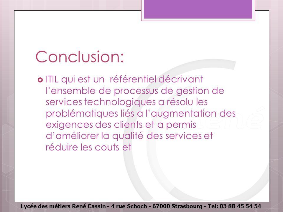 Lycée des métiers René Cassin - 4 rue Schoch - 67000 Strasbourg - Tel: 03 88 45 54 54 Conclusion: ITIL qui est un référentiel décrivant lensemble de p