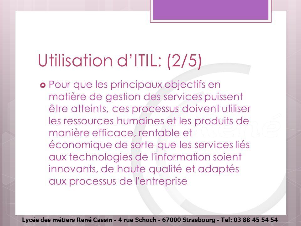 Lycée des métiers René Cassin - 4 rue Schoch - 67000 Strasbourg - Tel: 03 88 45 54 54 Utilisation dITIL: (2/5) Pour que les principaux objectifs en ma