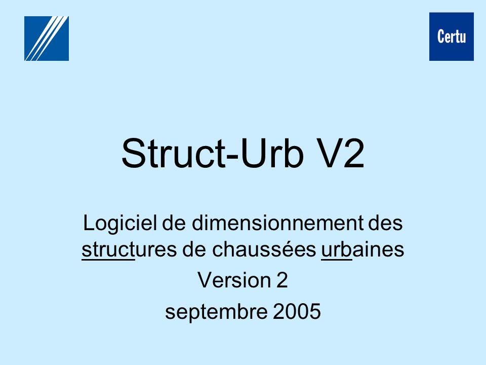 Struct-Urb V2 Logiciel de dimensionnement des structures de chaussées urbaines Version 2 septembre 2005