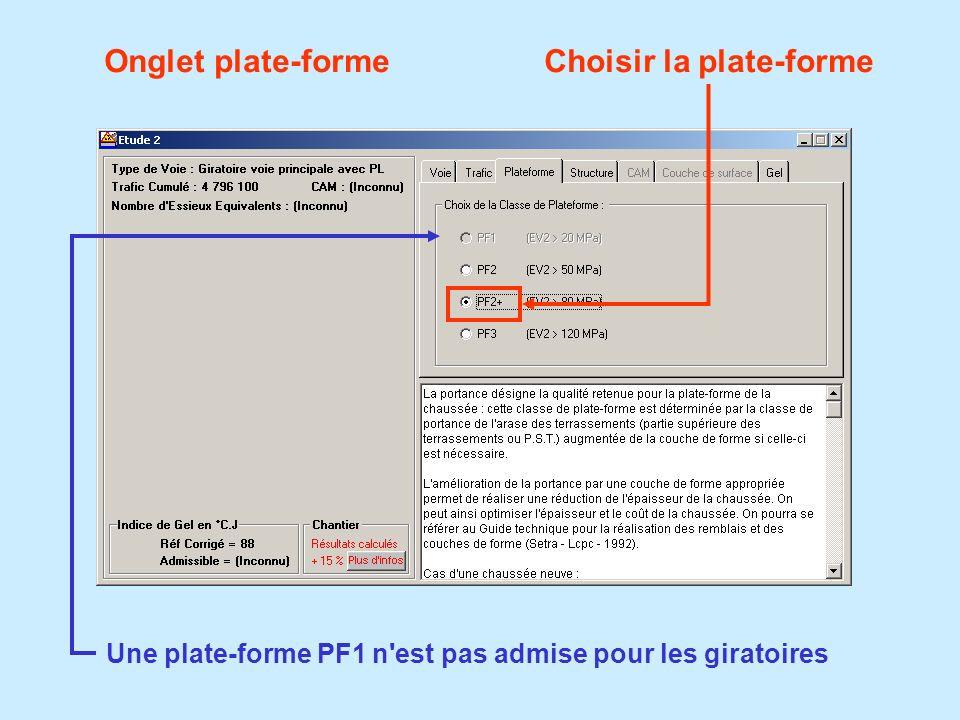 Onglet plate-formeChoisir la plate-forme Une plate-forme PF1 n'est pas admise pour les giratoires