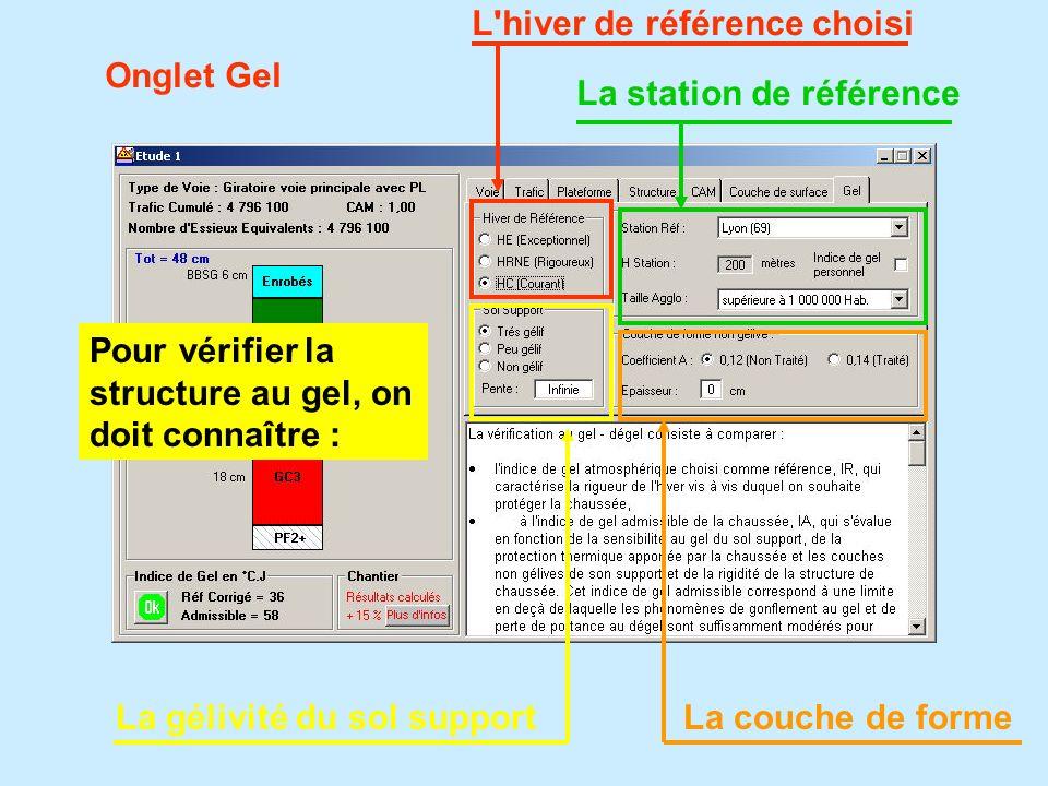 Onglet Gel Pour vérifier la structure au gel, on doit connaître : L'hiver de référence choisi La station de référence La gélivité du sol support La co