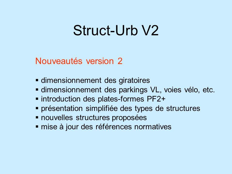 Struct-Urb V2 Nouveautés version 2 dimensionnement des giratoires dimensionnement des parkings VL, voies vélo, etc. introduction des plates-formes PF2
