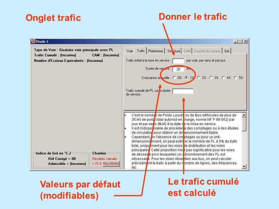 Onglet trafic Donner le trafic Le trafic cumulé est calculé Valeurs par défaut (modifiables)