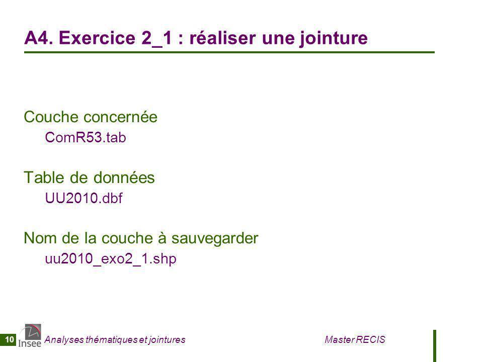 Analyses thématiques et jointures Master RECIS 10 A4. Exercice 2_1 : réaliser une jointure Couche concernée ComR53.tab Table de données UU2010.dbf Nom