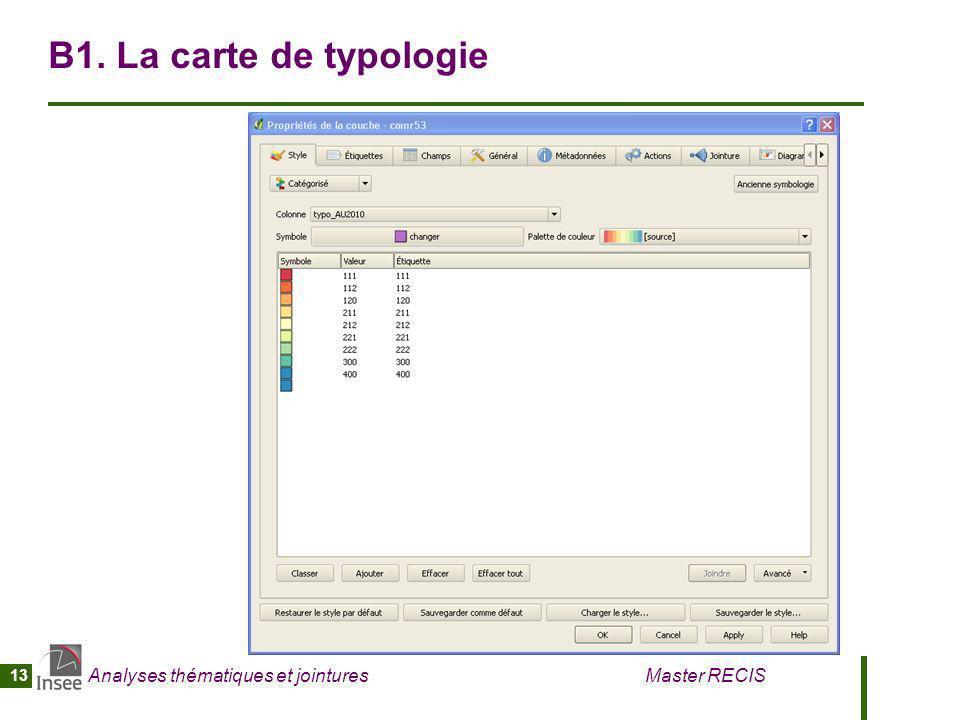 Analyses thématiques et jointures Master RECIS 13 B1. La carte de typologie