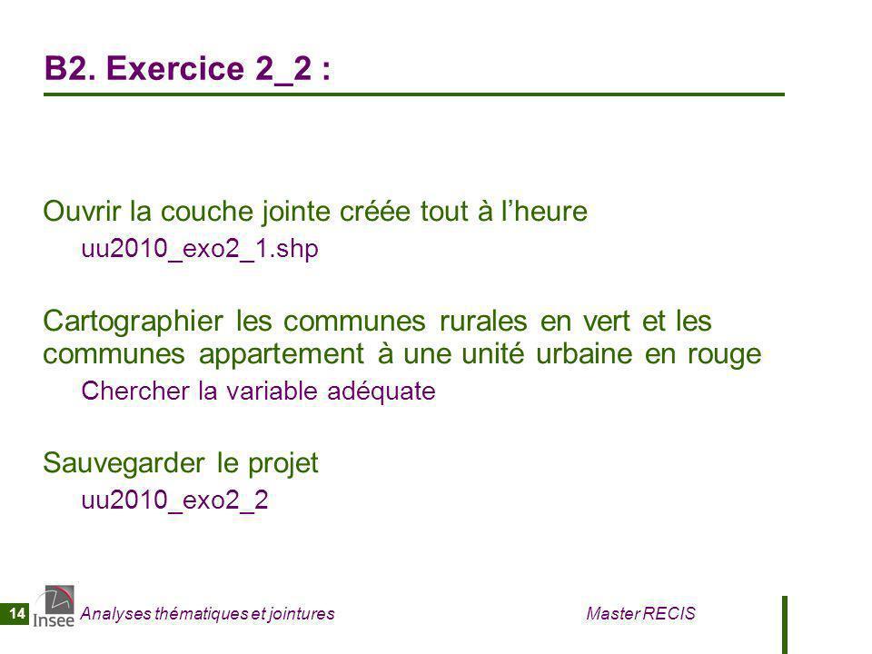 Analyses thématiques et jointures Master RECIS 14 B2. Exercice 2_2 : Ouvrir la couche jointe créée tout à lheure uu2010_exo2_1.shp Cartographier les c