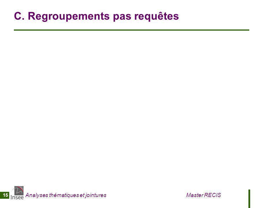 Analyses thématiques et jointures Master RECIS 15 C. Regroupements pas requêtes