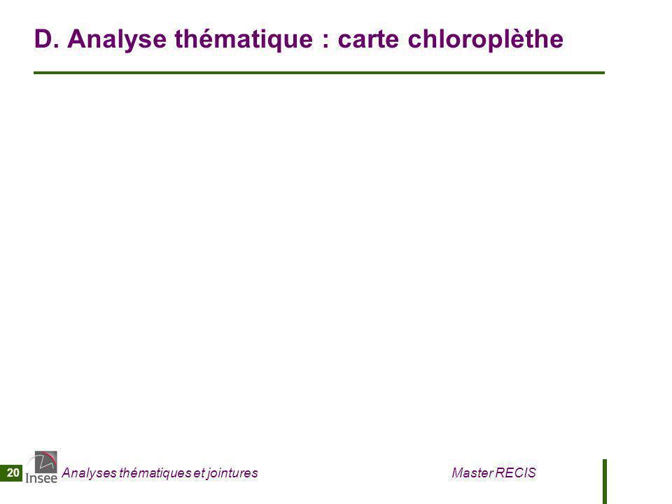 Analyses thématiques et jointures Master RECIS 20 D. Analyse thématique : carte chloroplèthe