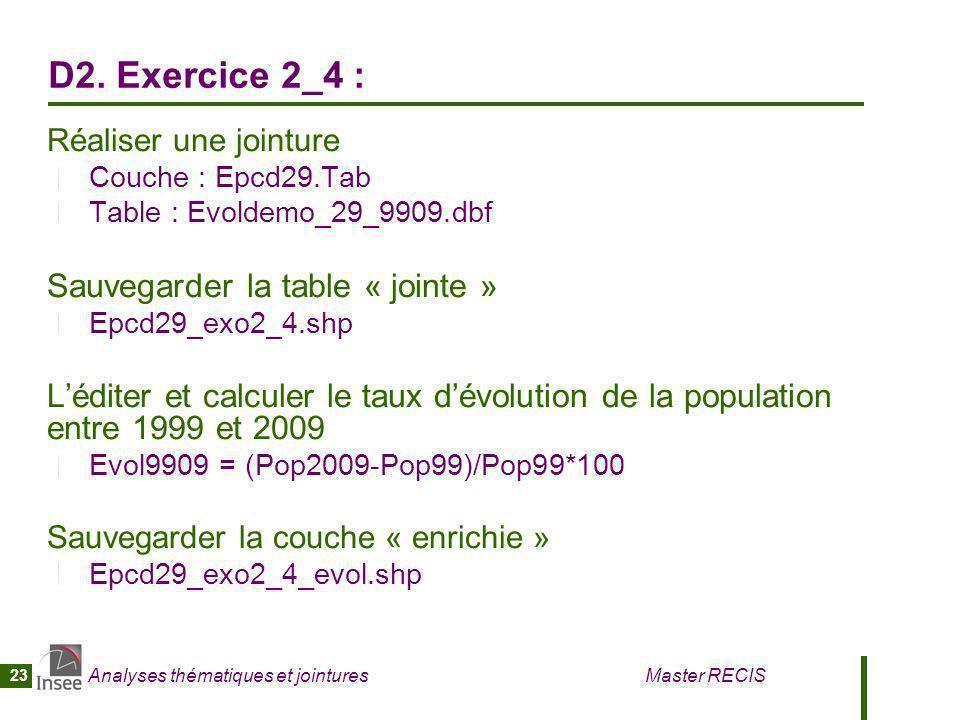 Analyses thématiques et jointures Master RECIS 23 D2. Exercice 2_4 : Réaliser une jointure Couche : Epcd29.Tab Table : Evoldemo_29_9909.dbf Sauvegarde