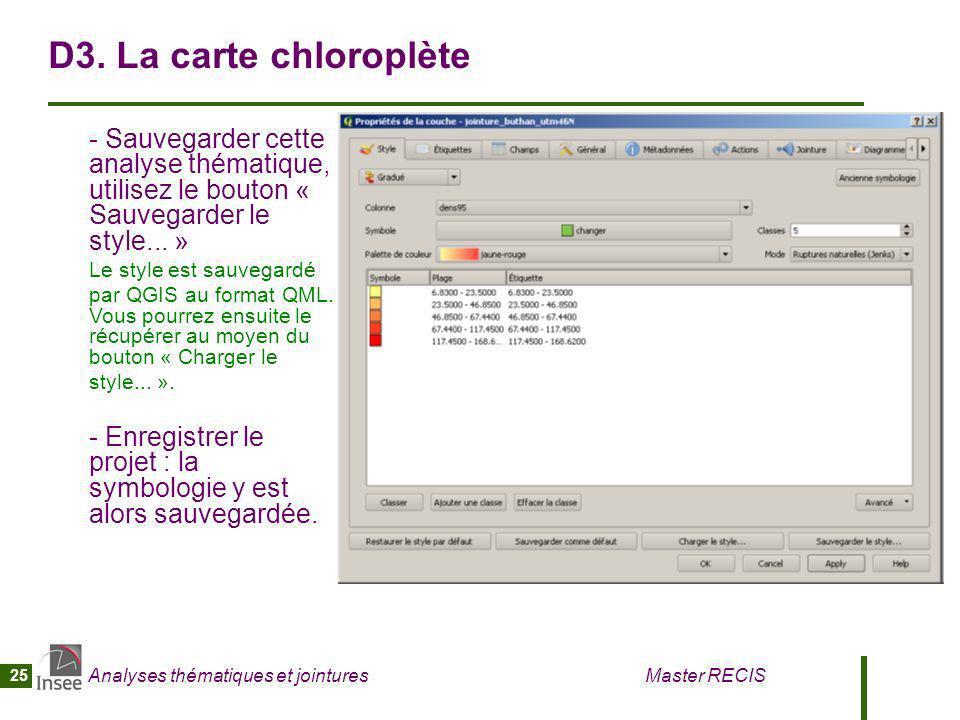 Analyses thématiques et jointures Master RECIS 25 D3. La carte chloroplète - Sauvegarder cette analyse thématique, utilisez le bouton « Sauvegarder le