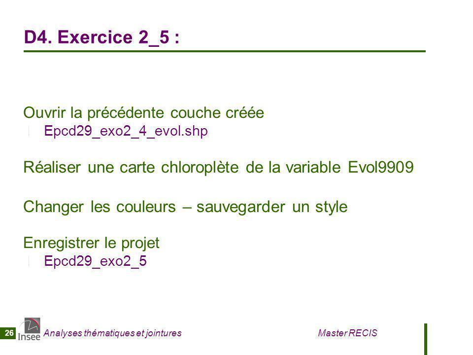 Analyses thématiques et jointures Master RECIS 26 D4. Exercice 2_5 : Ouvrir la précédente couche créée Epcd29_exo2_4_evol.shp Réaliser une carte chlor