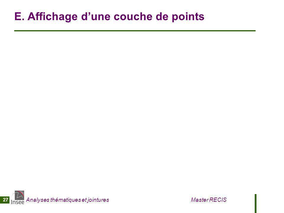 Analyses thématiques et jointures Master RECIS 27 E. Affichage dune couche de points