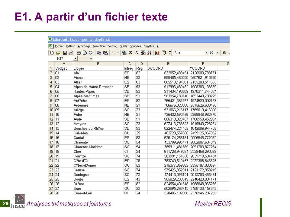 Analyses thématiques et jointures Master RECIS 29 E1. A partir dun fichier texte