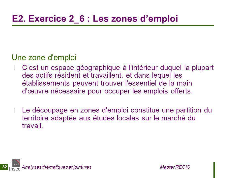 Analyses thématiques et jointures Master RECIS 32 E2. Exercice 2_6 : Les zones demploi Une zone d'emploi Cest un espace géographique à l'intérieur duq