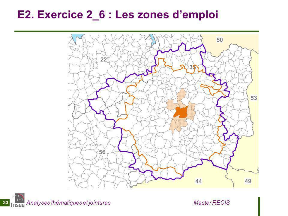 Analyses thématiques et jointures Master RECIS 33 E2. Exercice 2_6 : Les zones demploi