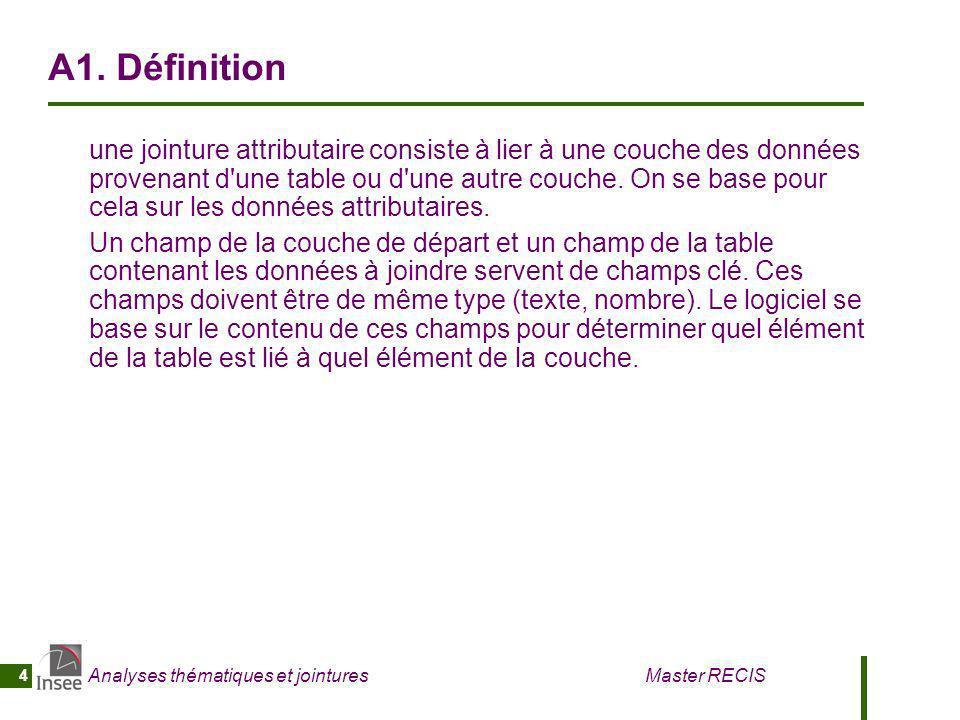 Analyses thématiques et jointures Master RECIS 4 A1. Définition une jointure attributaire consiste à lier à une couche des données provenant d'une tab
