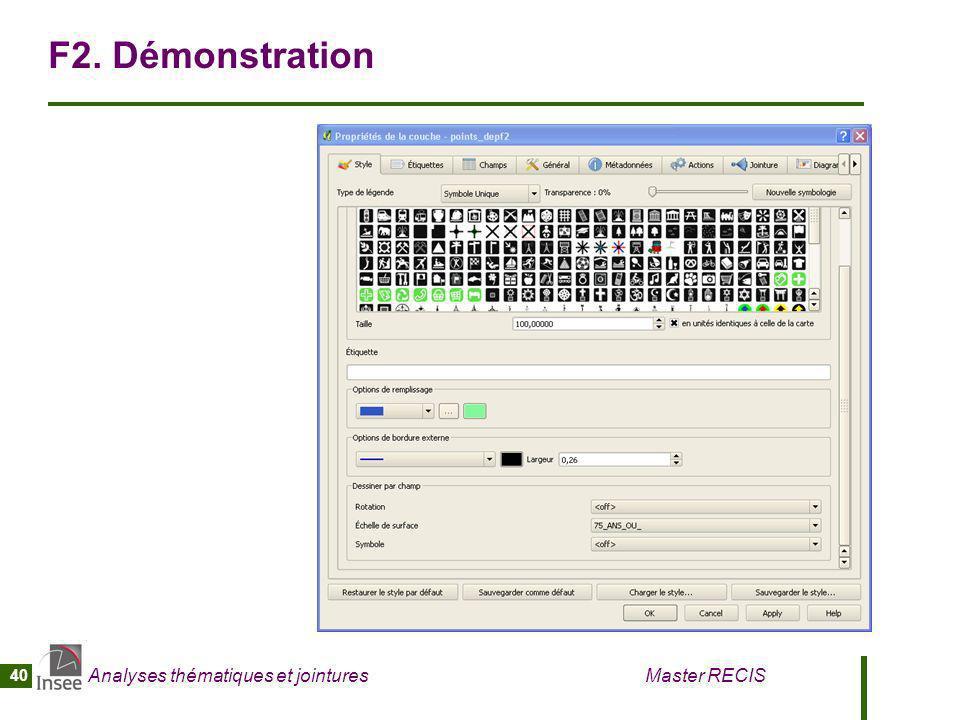 Analyses thématiques et jointures Master RECIS 40 F2. Démonstration