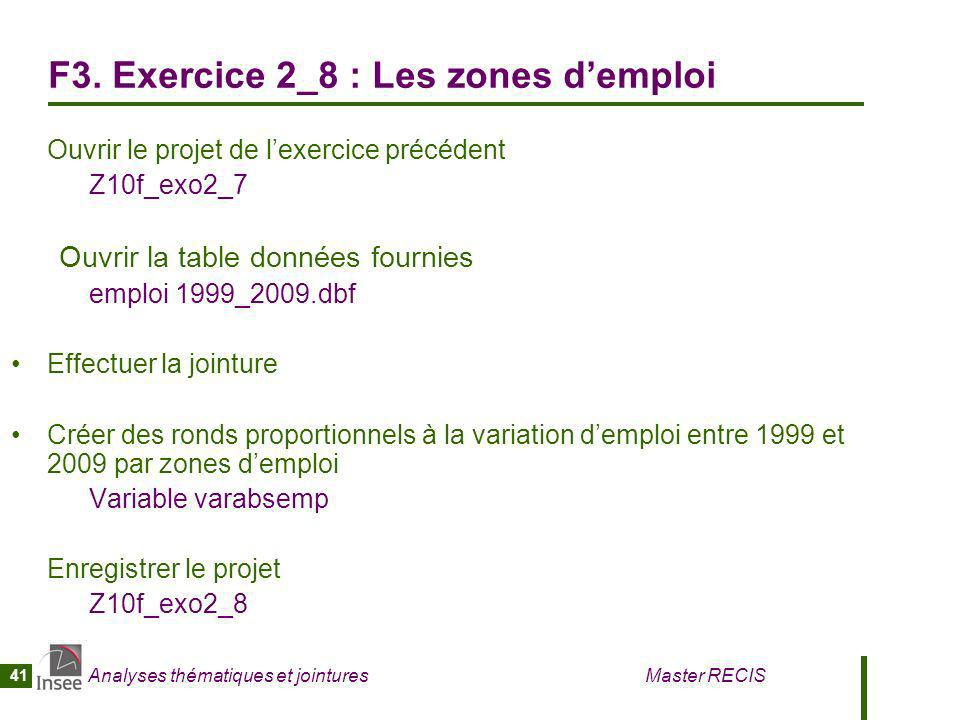 Analyses thématiques et jointures Master RECIS 41 F3. Exercice 2_8 : Les zones demploi Ouvrir le projet de lexercice précédent Z10f_exo2_7 Ouvrir la t