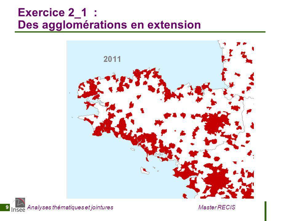 Analyses thématiques et jointures Master RECIS 9 Exercice 2_1 : Des agglomérations en extension
