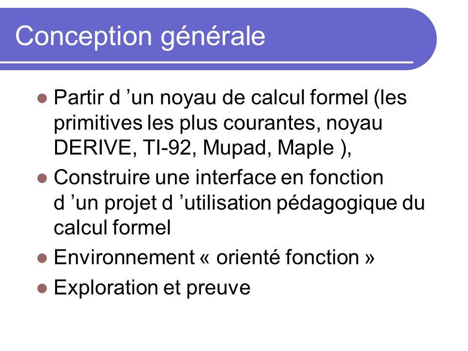 Conception générale Partir d un noyau de calcul formel (les primitives les plus courantes, noyau DERIVE, TI-92, Mupad, Maple ), Construire une interfa