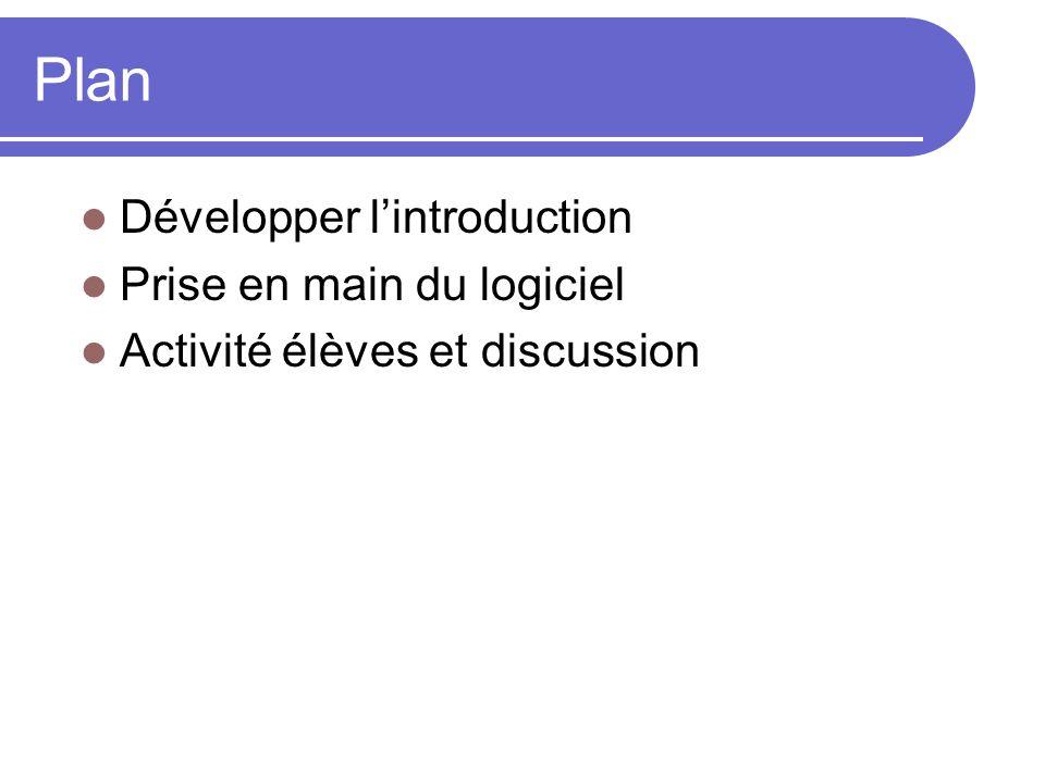Plan Développer lintroduction Prise en main du logiciel Activité élèves et discussion