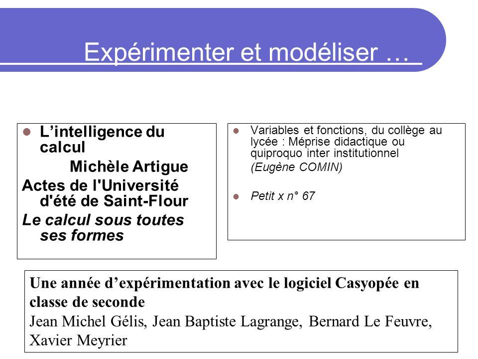 Expérimenter et modéliser … (approche didactique) Lintelligence du calcul Michèle Artigue Actes de l'Université d'été de Saint-Flour Le calcul sous to