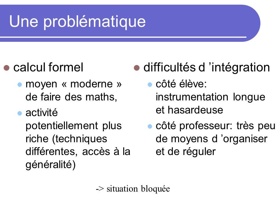 Une problématique calcul formel moyen « moderne » de faire des maths, activité potentiellement plus riche (techniques différentes, accès à la générali