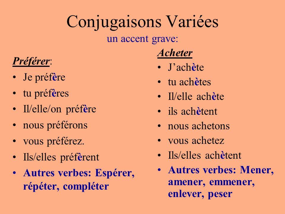 Conjugaisons Variées un accent grave: Préférer: Je préfère tu préfères Il/elle/on préfère nous préférons vous préférez. Ils/elles préfèrent Autres ver