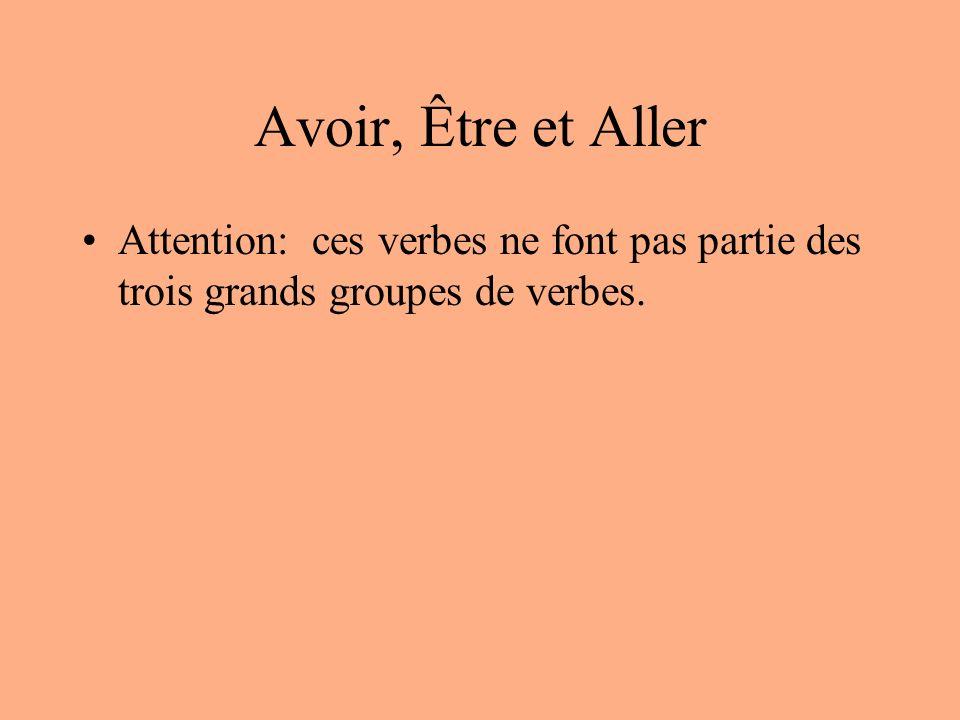 Avoir, Être et Aller Attention: ces verbes ne font pas partie des trois grands groupes de verbes.