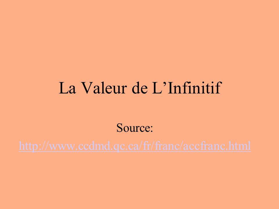 LInfinitif Linfinitif peut semployer comme nom ou comme verbe Certains infinitifs sont devenus de véritables noms: « Un rire charmant, des vivres indispensables, un déjeuner daffaires.