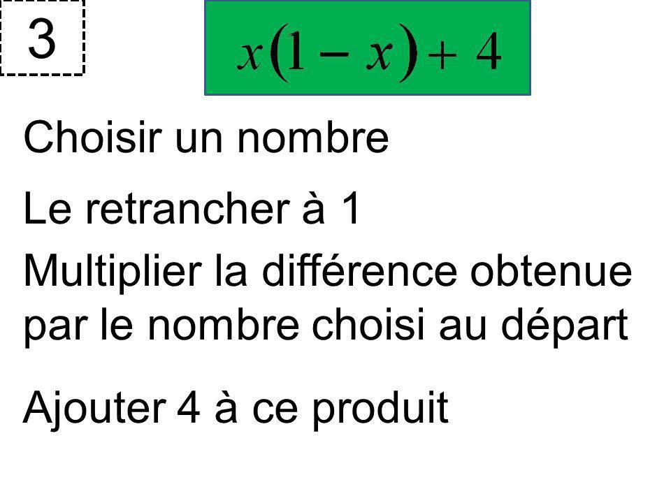 Choisir un nombre 2 Calculer la moitié de ce nombre Ajouter le carré du nombre choisi Doubler le résultat obtenu