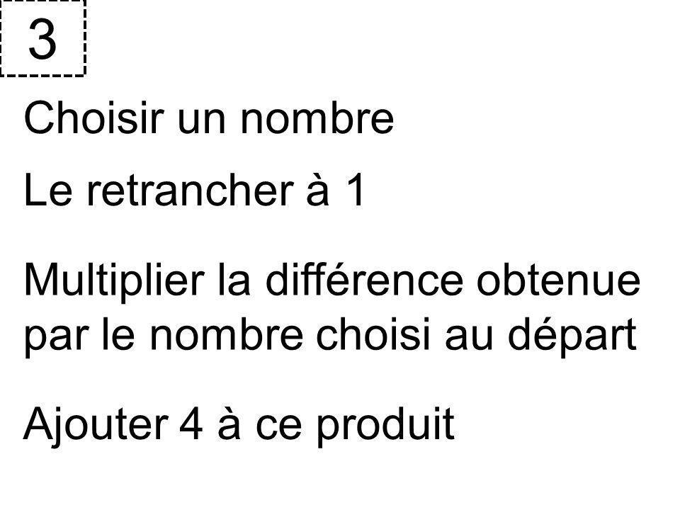 Choisir un nombre 3 Le retrancher à 1 Multiplier la différence obtenue par le nombre choisi au départ Ajouter 4 à ce produit